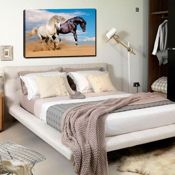 Wild Black & White Horses Canvas Wall Art Bedroom