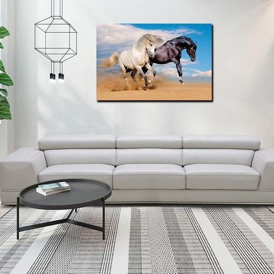 Wild Black & White Horses Canvas Wall Art Decor
