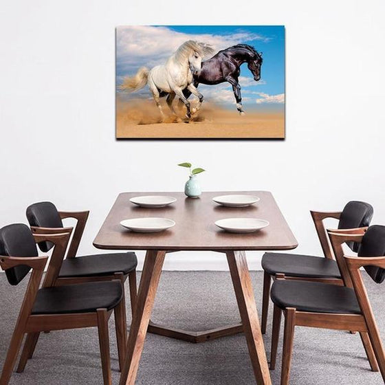Wild Black & White Horses Canvas Wall Art Dining Room