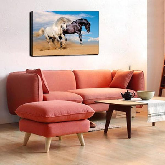 Wild Black & White Horses Canvas Wall Art Living Room