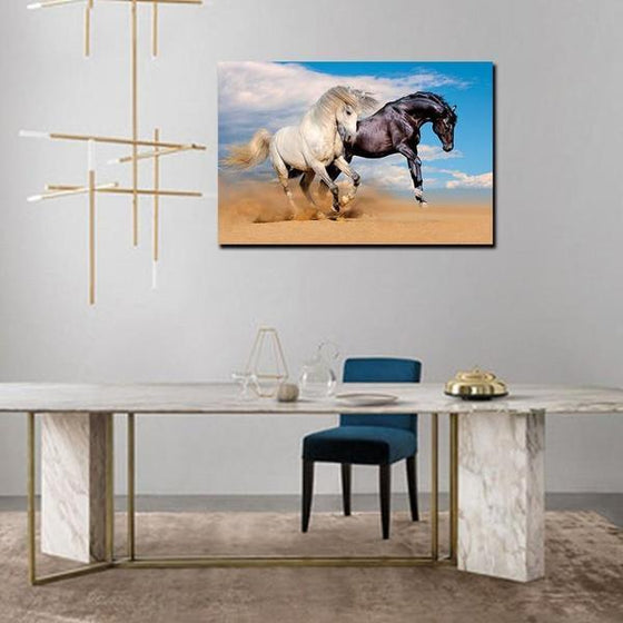 Wild Black & White Horses Canvas Wall Art Office