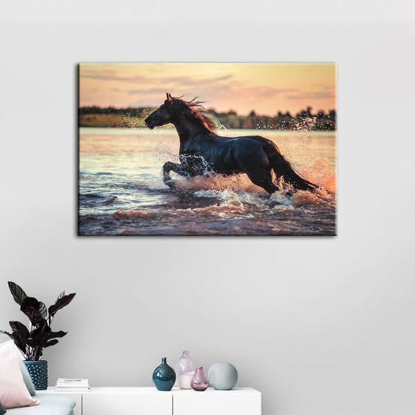 Wild Horse At The Beach Canvas Wall Art Decor