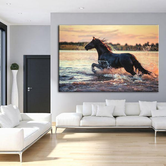 Wild Horse At The Beach Canvas Wall Art Living Room