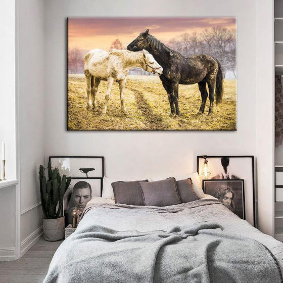 Wild Horses At Sunset Canvas Wall Art Bedroom