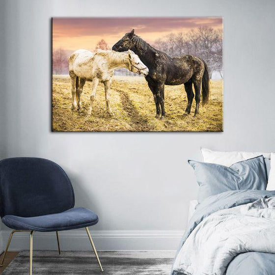 Wild Horses At Sunset Canvas Wall Art Decor
