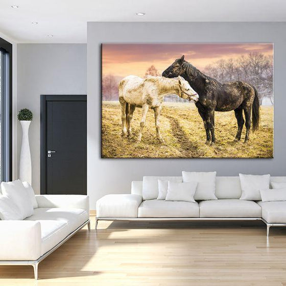 Wild Horses At Sunset Canvas Wall Art Living Room