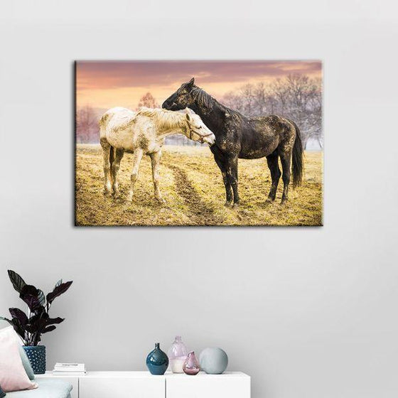 Wild Horses At Sunset Canvas Wall Art Print