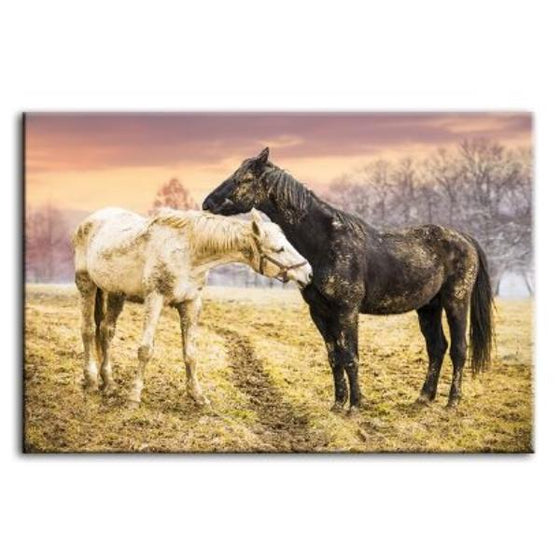 Wild Horses At Sunset Canvas Wall Art