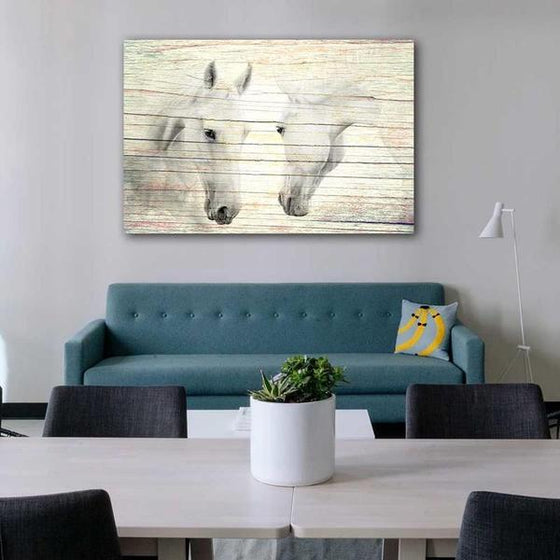 Wild White Horses Canvas Wall Art Living Room