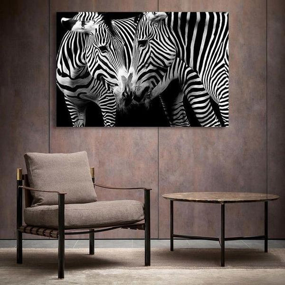 Wild Zebra Couple Canvas Wall Art Decor