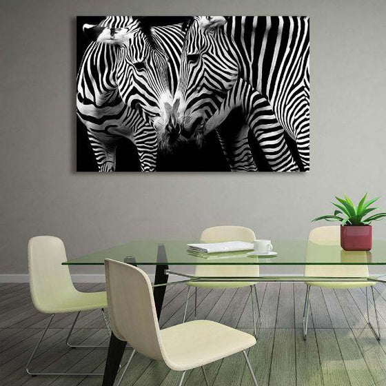 Wild Zebra Couple Canvas Wall Art Dining Room