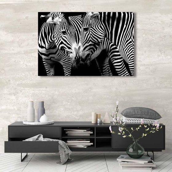 Wild Zebra Couple Canvas Wall Art Ideas