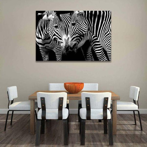 Wild Zebra Couple Canvas Wall Art Print