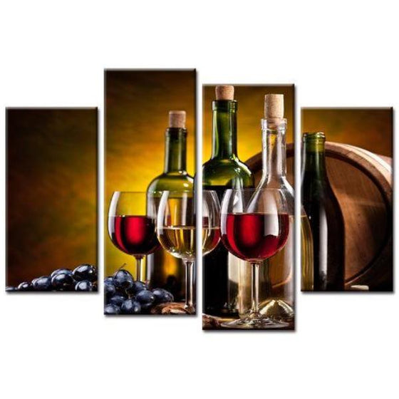 Wine Bottles And Glasses Canvas Wall Art