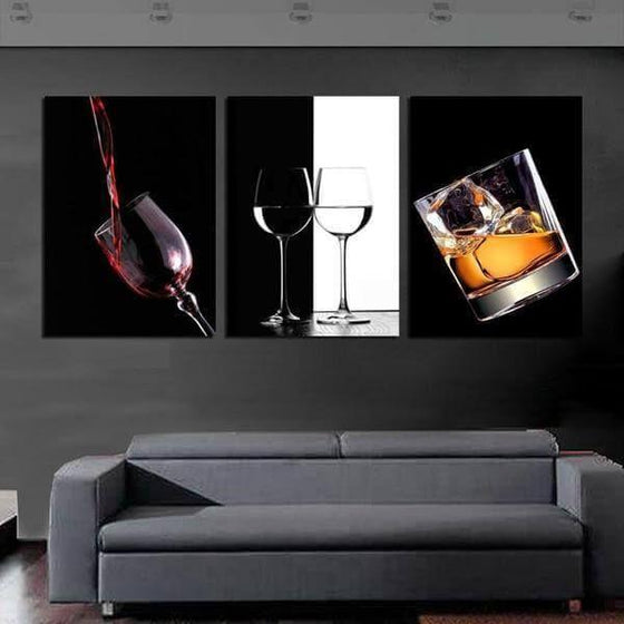 Bar Liquor Drinks Canvas Wall Art Office Decor