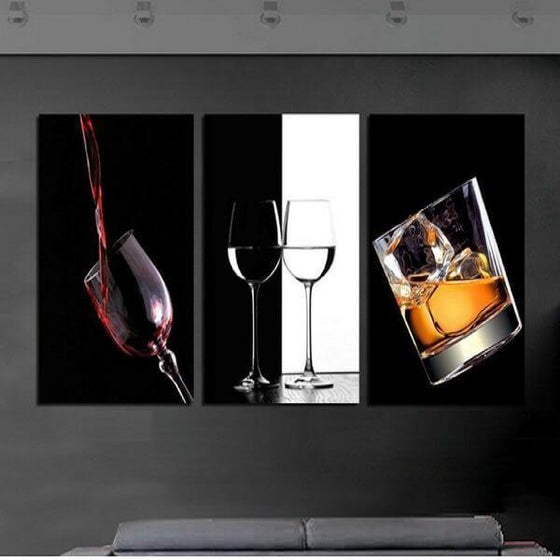 Bar Liquor Drinks Canvas Wall Art Restaurant Decor