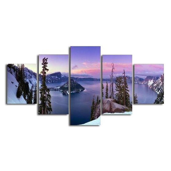 Winter Cliff View Canvas Wall Art