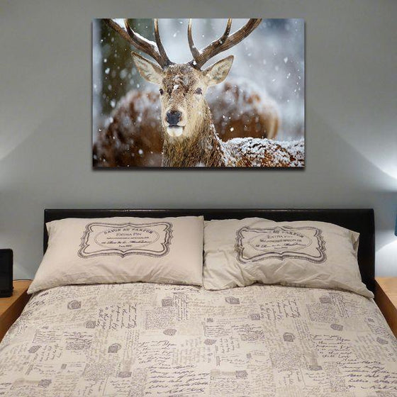 Winter Deer Head Canvas Wall Art Bedroom