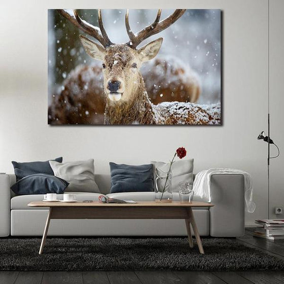 Winter Deer Head Canvas Wall Art Decor