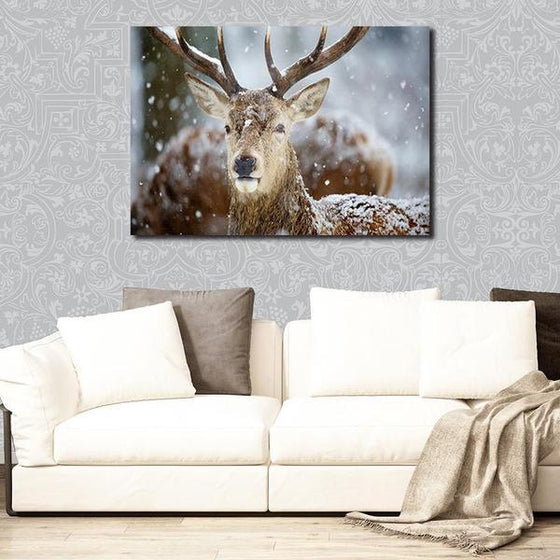 Winter Deer Head Canvas Wall Art Ideas