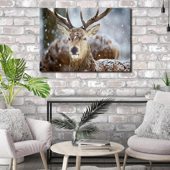 Winter Deer Head Canvas Wall Art Living Room