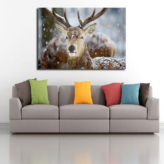 Winter Deer Head Canvas Wall Art Print