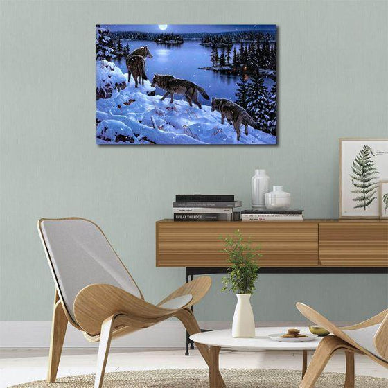 Winter Wolves Canvas Wall Art Bedroom