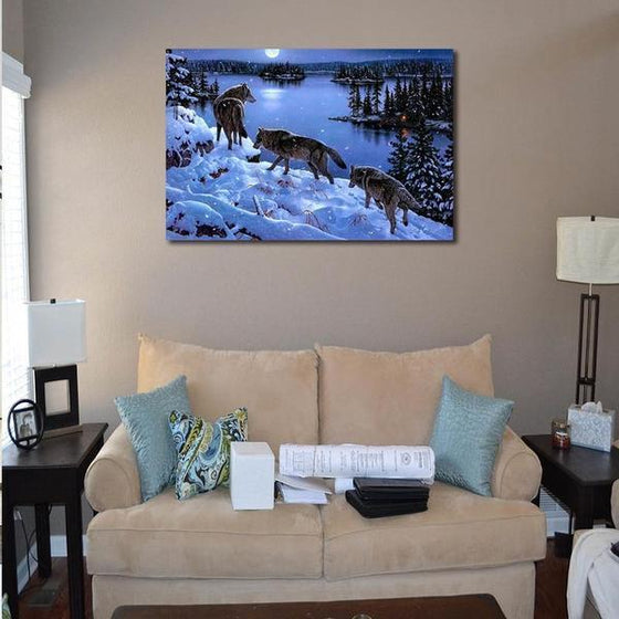 Winter Wolves Canvas Wall Art Living Room