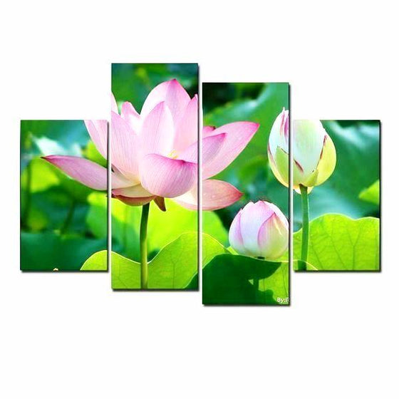 Lotus Flower And Buds Canvas Wall Art