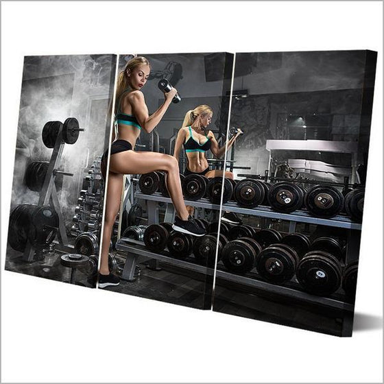 Bodybuilding Chic 3 Panels Canvas Wall Art Prints