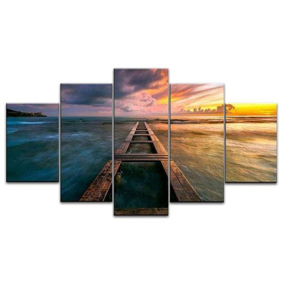 Wooden Bridge And Sea View Canvas Wall Art