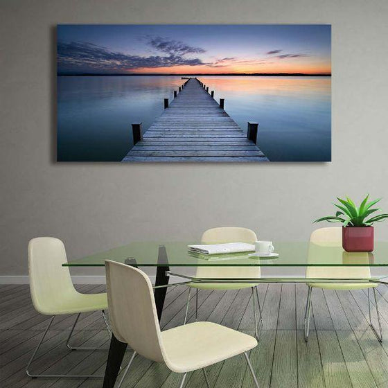Wooden Bridge To Sunset Canvas Wall Art Dining Room