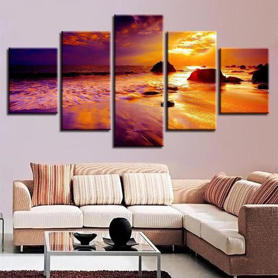 Wooden Wall Art Sunset Canvas