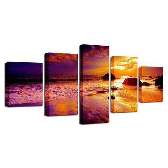 Beach Sunset Landscape View Canvas Wall Art Prints