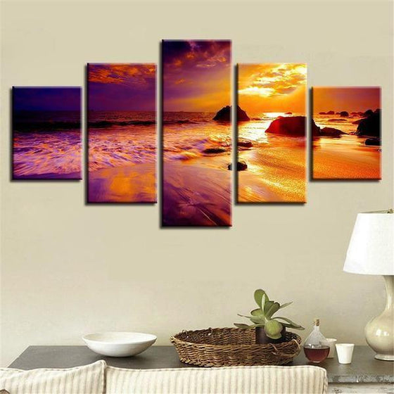 Beach Sunset Landscape View Canvas Wall Art Office Decor
