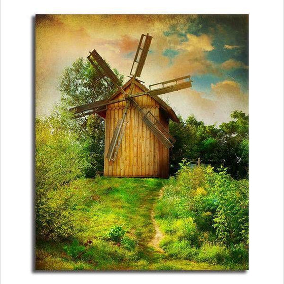 Wooden Windmill Wall Art Canvas
