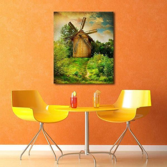 Wooden Windmill Wall Art Decor
