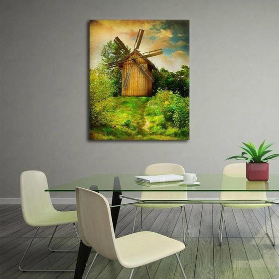 Wooden Windmill Wall Art Dining Room