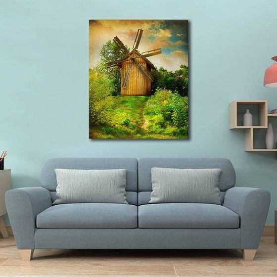 Wooden Windmill Wall Art Living Room