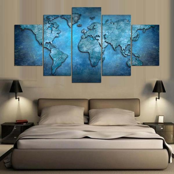 Blue World Map Canvas Wall Art
