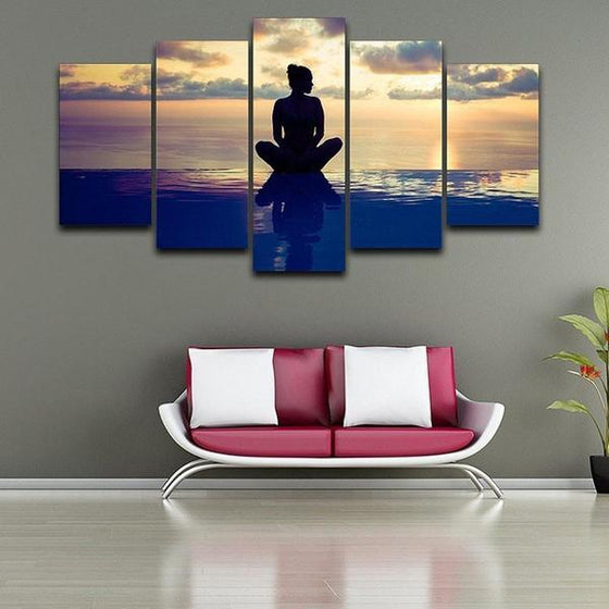 Fitness Yoga Pose Canvas Wall Art