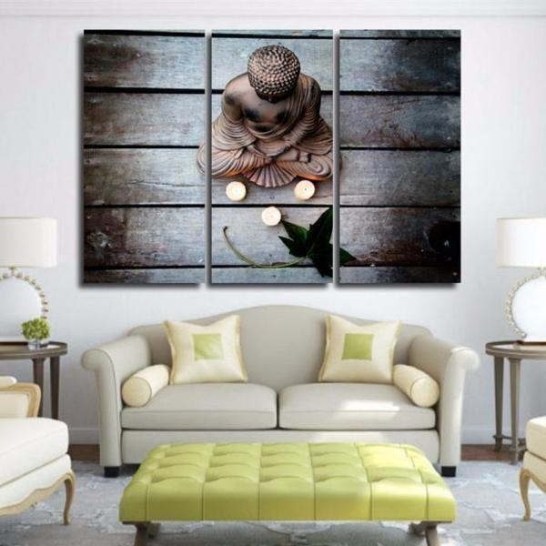 Buddha And Three Candles Canvas Wall Art
