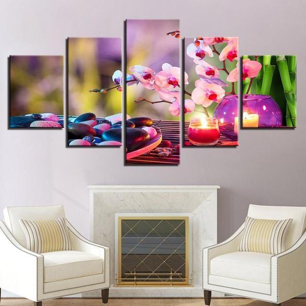 Purple Moth Orchid Candle Flowers Stones Canvas Wall Art
