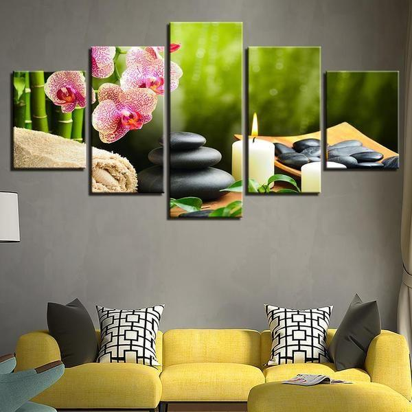 Bamboo Orchid Pink Flower Stones Candle Canvas Wall Art