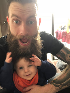 Having a beard and a baby is a bad combination