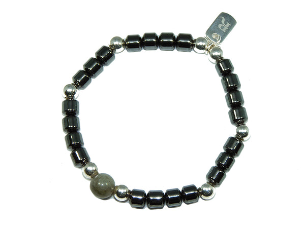 Hematite & Silver Drum (Small) | DarcyRose Jewellery