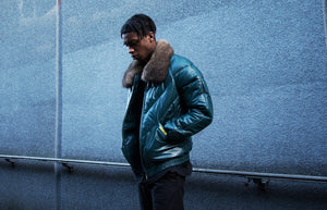 v bomber leather puffer down jacket with possum fur collar double goose brand leather bomber x wellgosh