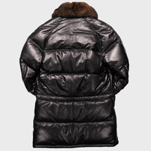 classic down leather coat double goose straight stitched leather goose down puffer jacket black