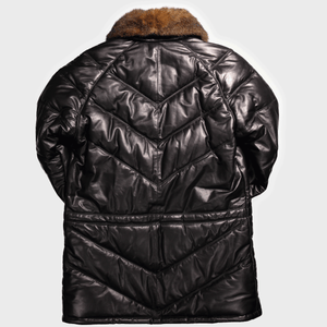 v coat v down leather coat double goose v stitched leather goose down puffer jacket black with possum fur collar