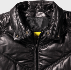 v bomber double goose v stitched leather goose down puffer jacket  black